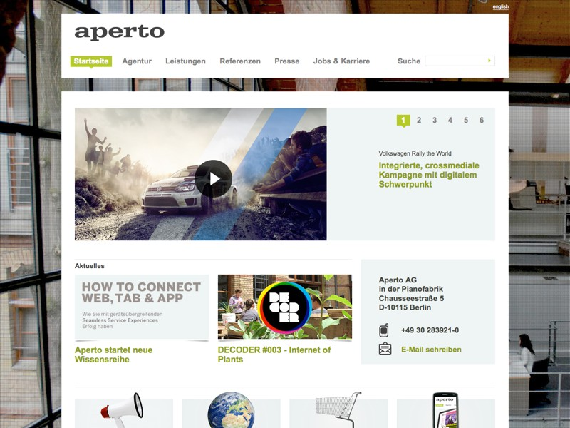 Screenshot Website von Aperto