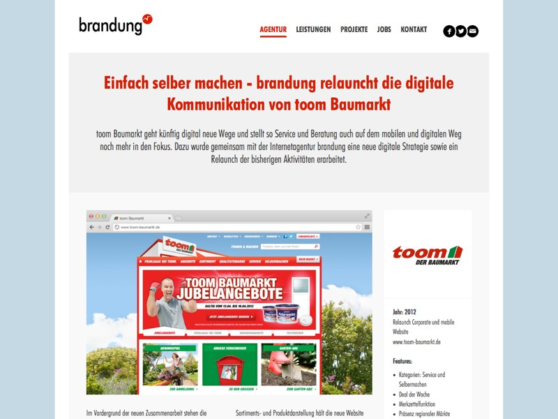 Screenshot Website von der Agentur brandung