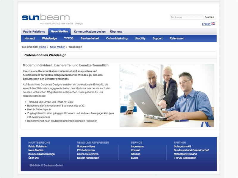 Screenshot Website sunbeam GmbH